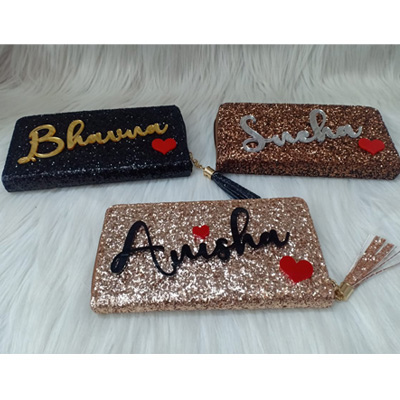 GLITTER WALLETS WITH ACRYLIC NAME