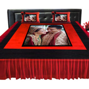 Red velvet bed sheet