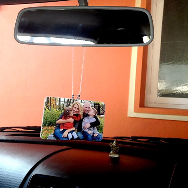 Mirror hanging with photos