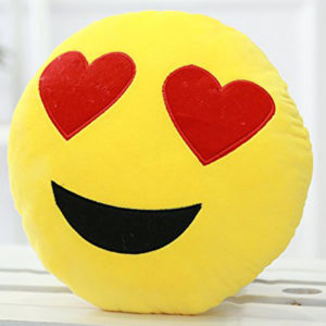 Smiley face velvet pillow
