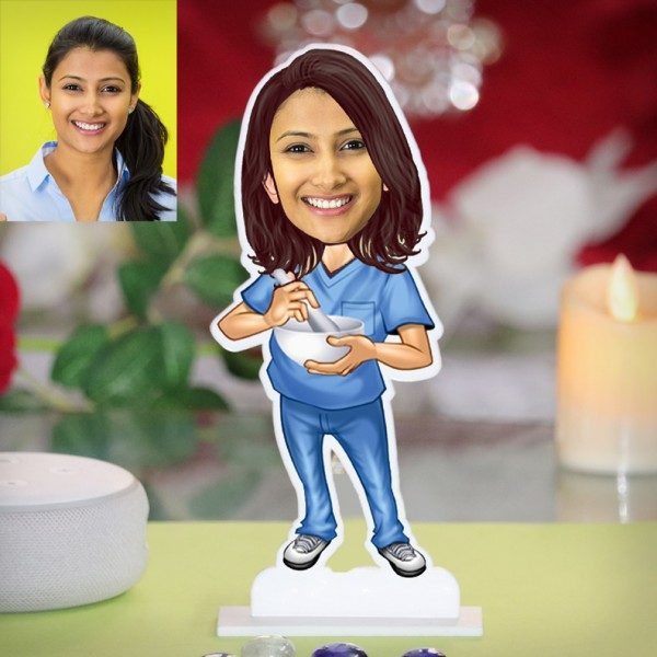 AYURVEDA LADY DOCTOR CARICATURE