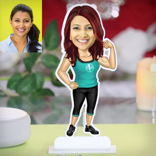 FITNESS LADY IN GYM CARICATURE