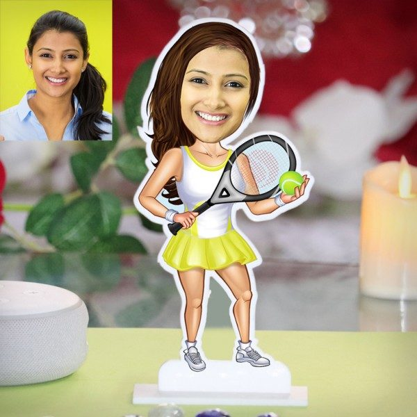 LADY TENNIS PLAYER CARICATURE