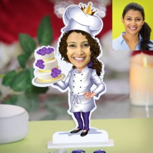 LADY WITH CAKE CARICATURE