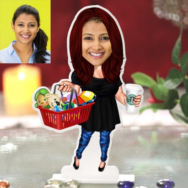 MODERN MOTHER WITH BASKET CARICATURE