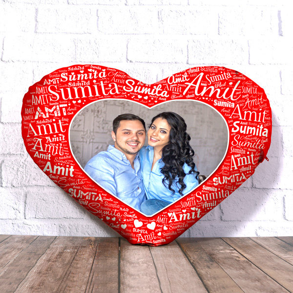 PERSONALIZED HEART SHAPE CUSHION WITH NAME ART